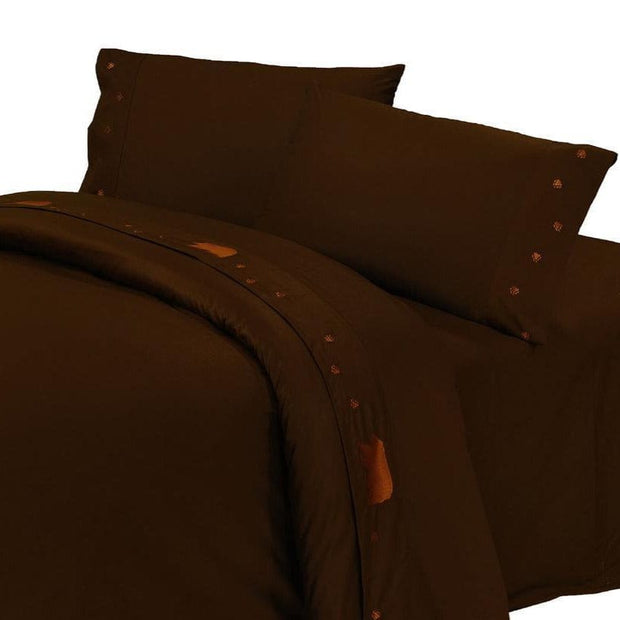 Bear Sheet Set, 350 Thread Count, Chocolate, Twin, King