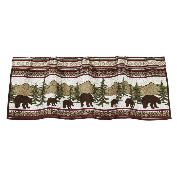 Bear Trail Quilted Rustic Kitchen Valance