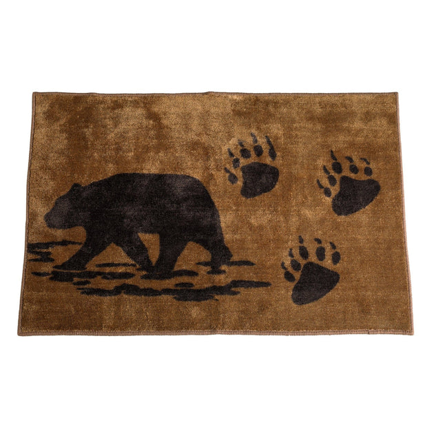 Bear w/ Bear Tracks Print Kitchen/Bath Rug