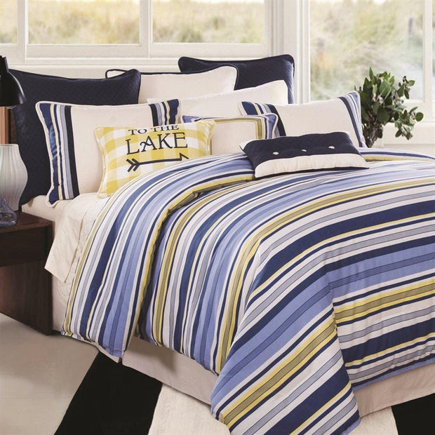 Beaufort 4-PC Blue & Yellow Striped Bedding Set