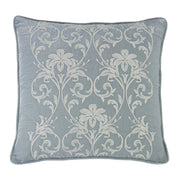 Belle Heather Blue Velvet Euro Sham, Floral Embroidery