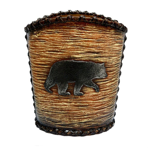 Black Bear Rustic Bathroom Wastebasket