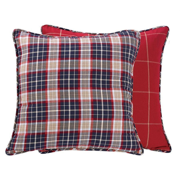Blue Plaid Euro Sham, 27x27 - Reversible