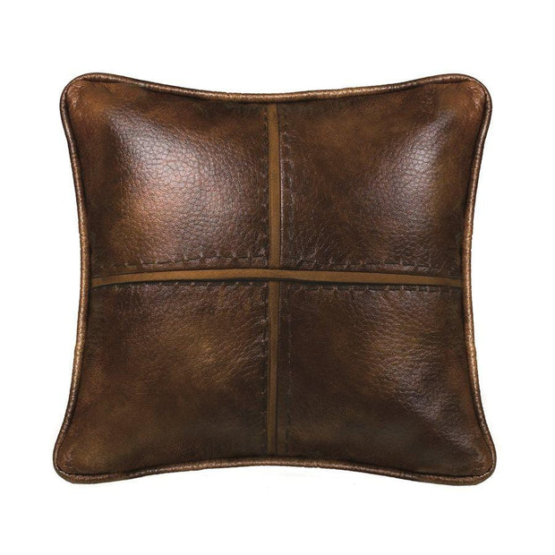 Brighton Stitched Faux Leather Decorative Throw Pillow, 18x18
