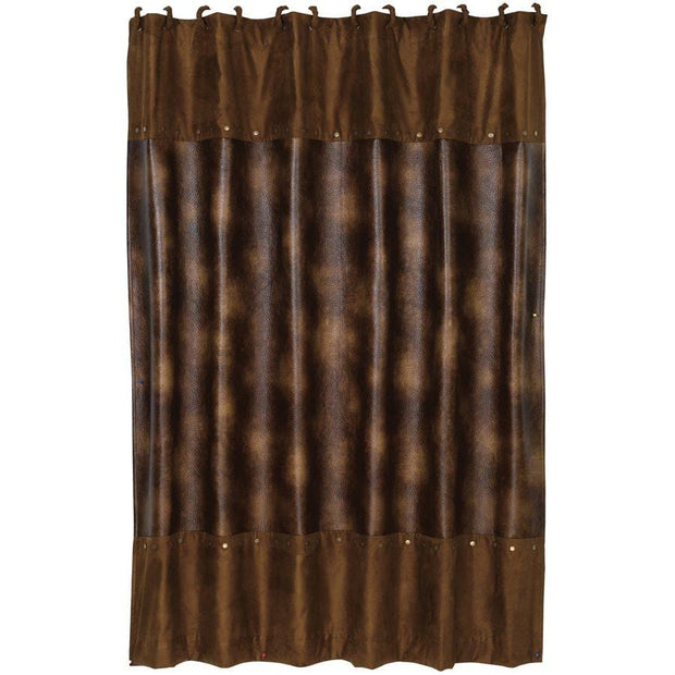 Brown Faux Leather Shower Curtain, Studded