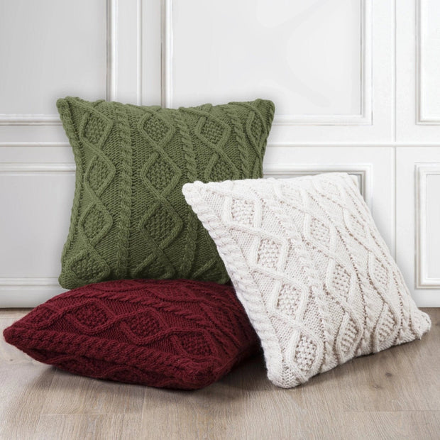 Cable Knit Soft Diamond Throw Pillow (3 Colors)
