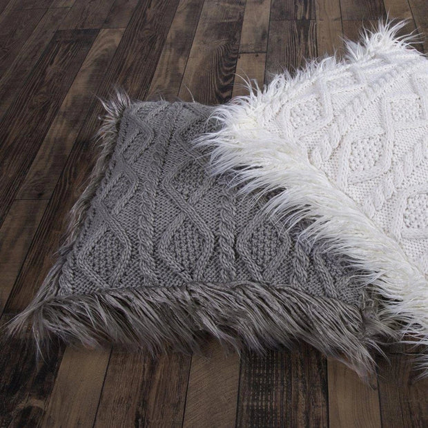 Cable Knit Throw Pillow, Mongolian Fur, 2 Colors, 18x18