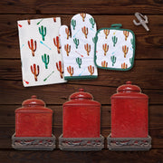 Colorful Cactus Print and Savannah Red Canister 22 PC Set