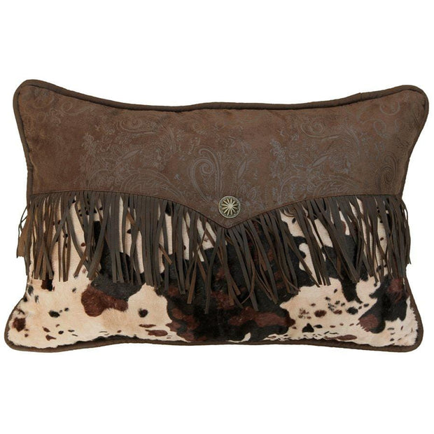 Caldwell Faux Cowhide Velvet Lumbar Pillow w/ Fringe