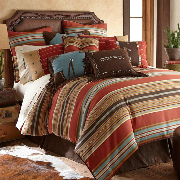 Calhoun 5-PC Bedding Set, Red & Brown