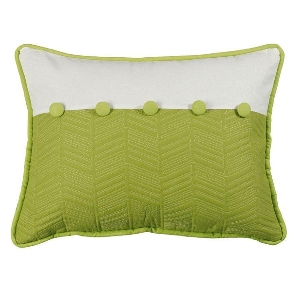 Capri Fern & Quilted Lumbar Pillow, Green & White