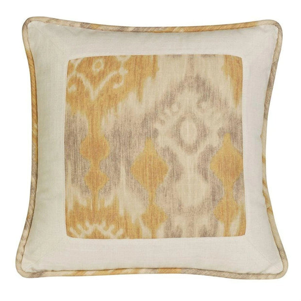 Casablanca Framed Throw Pillow, Taupe & Flaxen Ikat