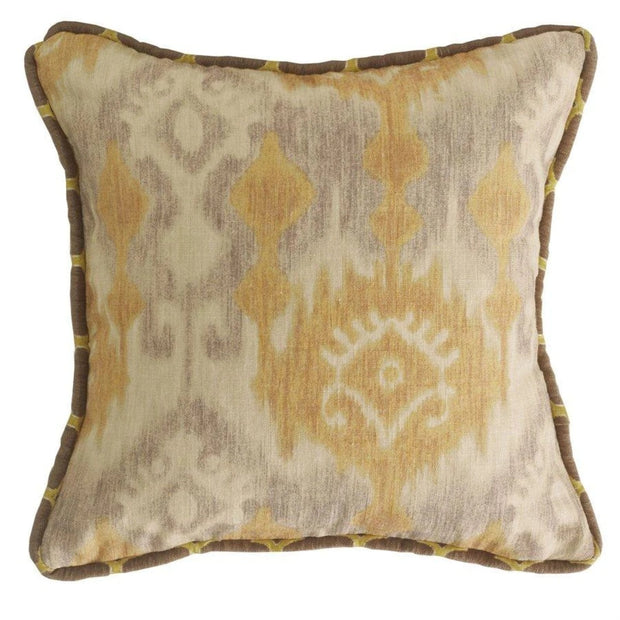 Casablanca Reversible Throw Pillow, Taupe & Flaxen Ikat