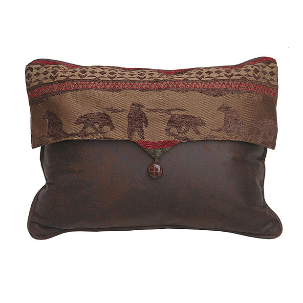 Cascade Lodge Bear Envelope Pillow w/ Faux Leather