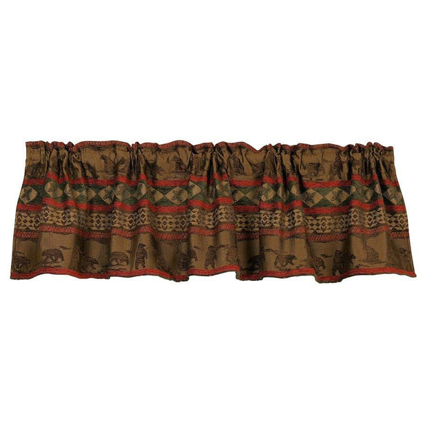 Cascade Lodge Red & Brown Chenille Kitchen Valance