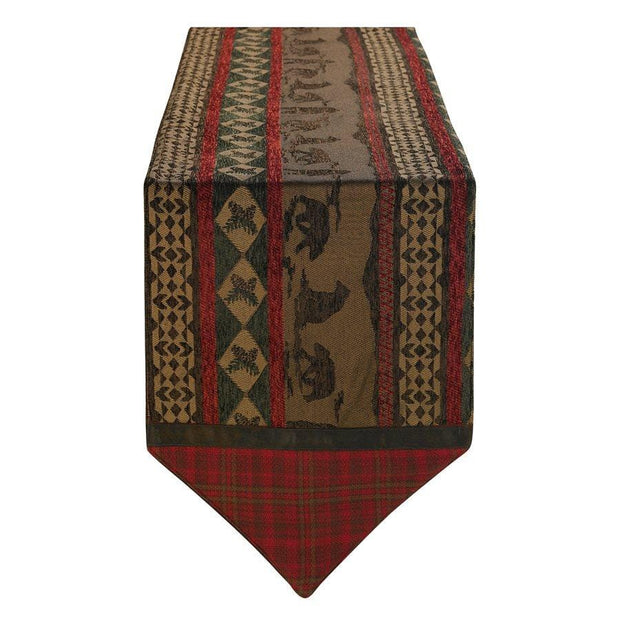 Cascade Lodge Red & Brown Table Runner, Bear Silhouette