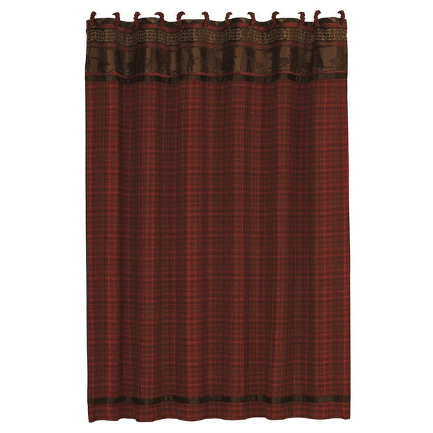 Cascade Lodge Red Plaid Shower Curtain