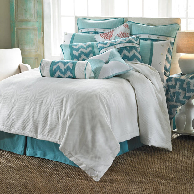 "Catalina Aqua Bedskirt, King/Queen (18"" Drop)-Bed Skirt-HiEnd Accents"