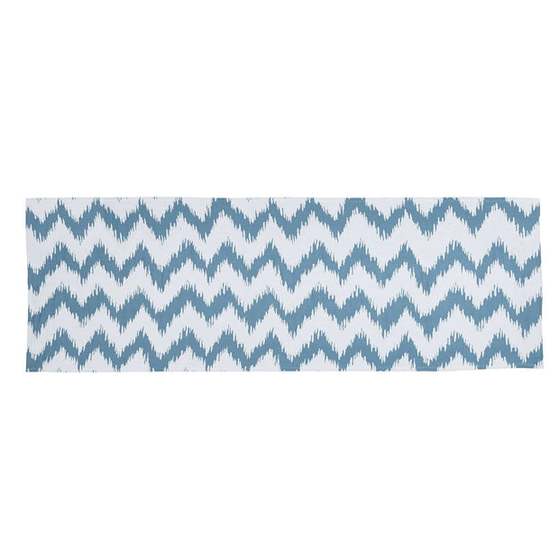 Catalina Aqua & White Bed Runner w/ Chevron Pattern