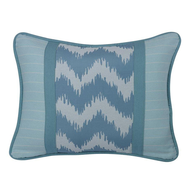Catalina Chevron Print Pillow w/ Blue Stripes