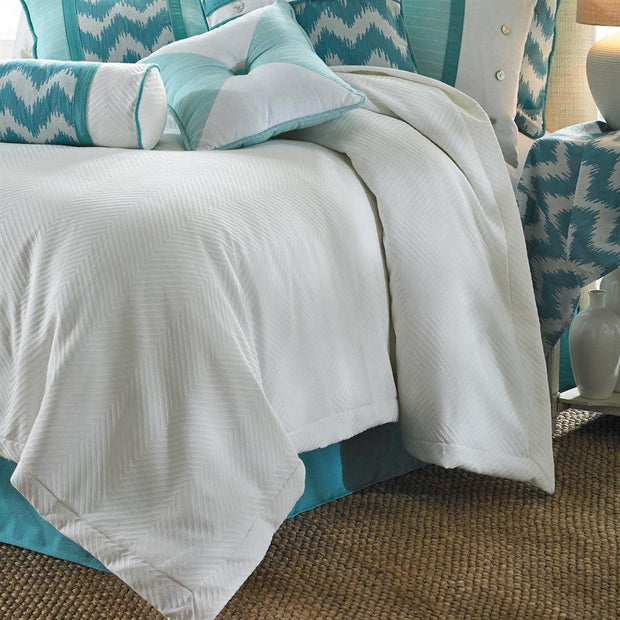 Catalina Coastal Duvet Cover, White & Aqua Chevron