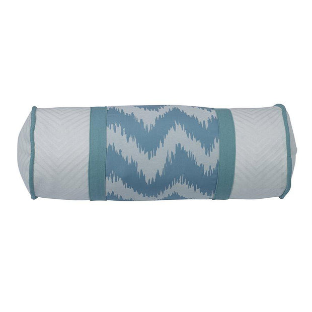 Catalina Neckroll Pillow w/ Aqua & White Chevron