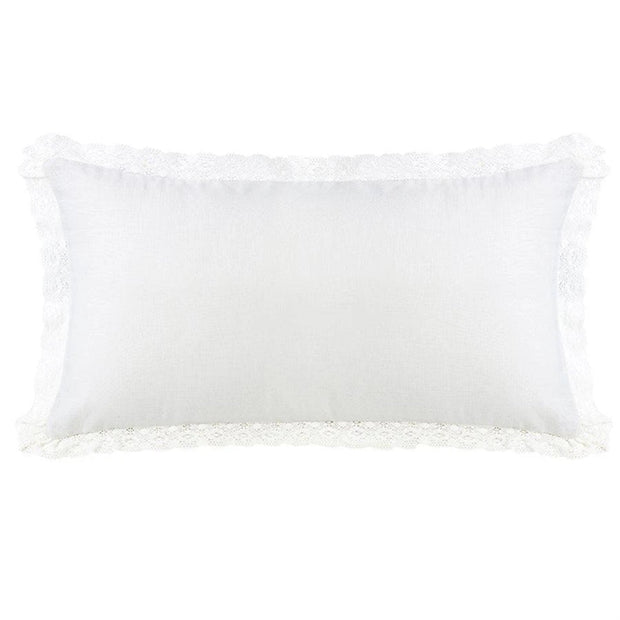 Charlotte Extra Long Off-White Linen & Lace Trim Pillow, 21x34