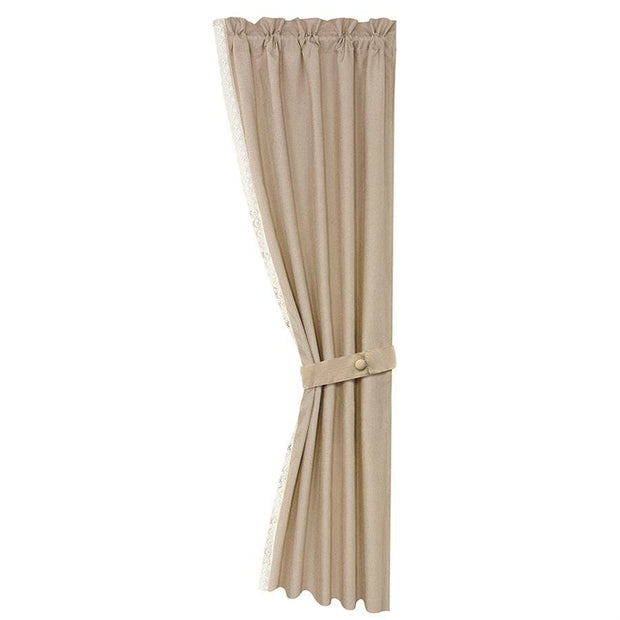 Charlotte Linen Single Panel Curtain w/ Lace Detail