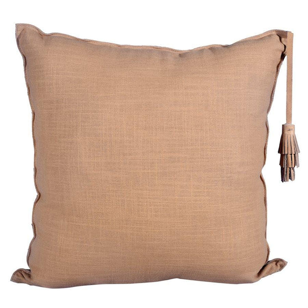 Chevron (Genuine) Leather Tassel Throw Pillow