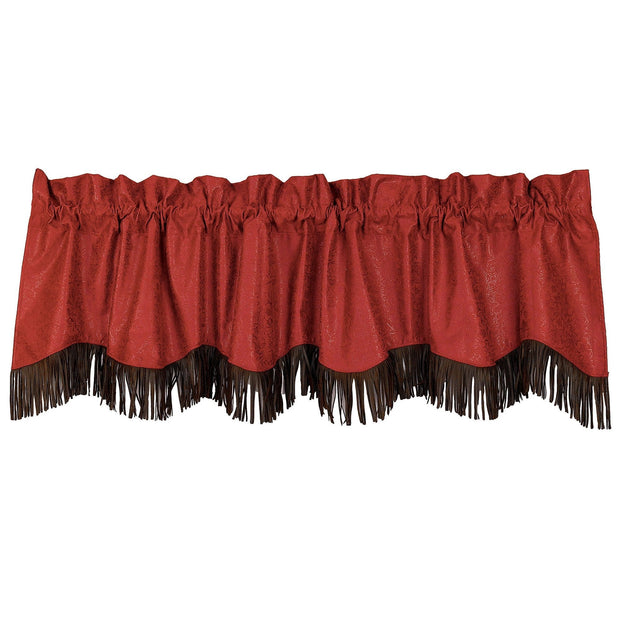 Cheyenne Red Leather Kitchen Valance w/ Fringe