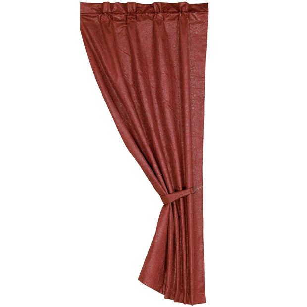 Cheyenne Red Faux Leather Single Panel Curtain