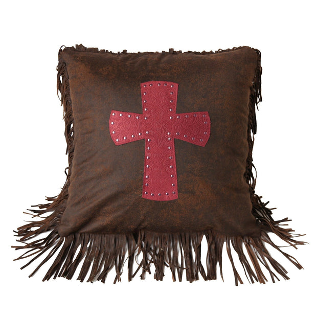 Cheyenne Tooled Leather Cross Throw Pillow - 2 Colors
