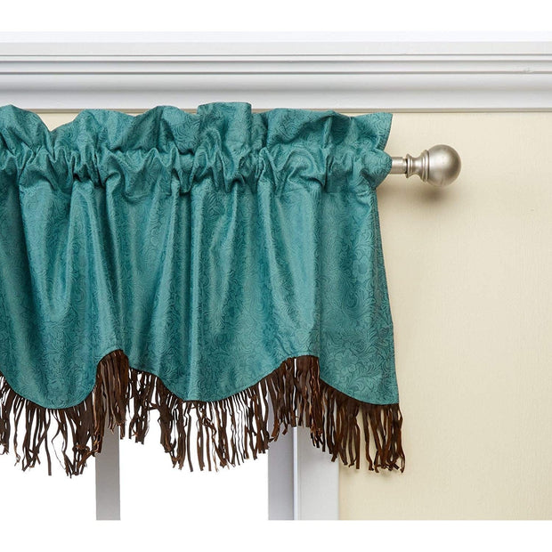 Cheyenne Turquoise Leather Kitchen Valance w/ Fringe