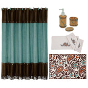 Turquoise Inlay 9-PC Bath Accessary and Rebecca Towel Set