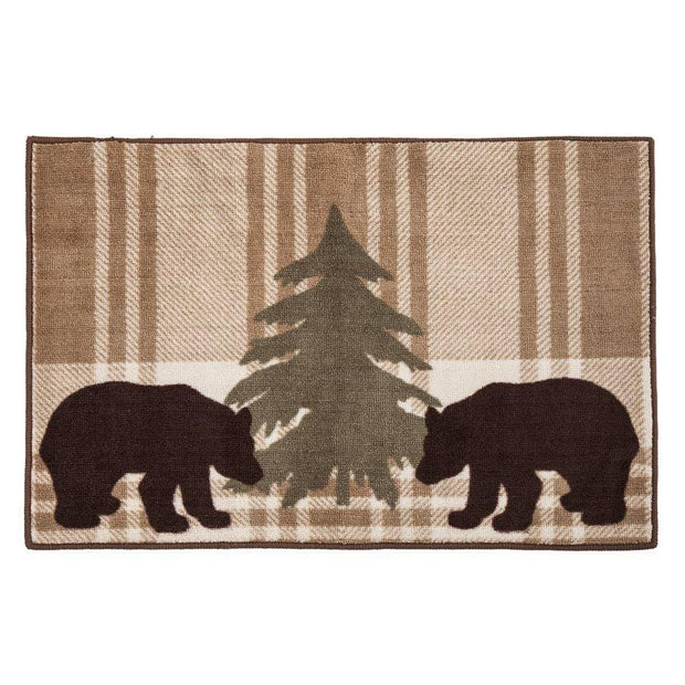 Chocolate Brown Bear Plaid Kitchen/Bath Rug