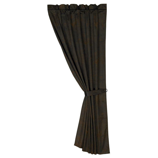 Chocolate Faux Leather Rod-Pocket Curtain Panel