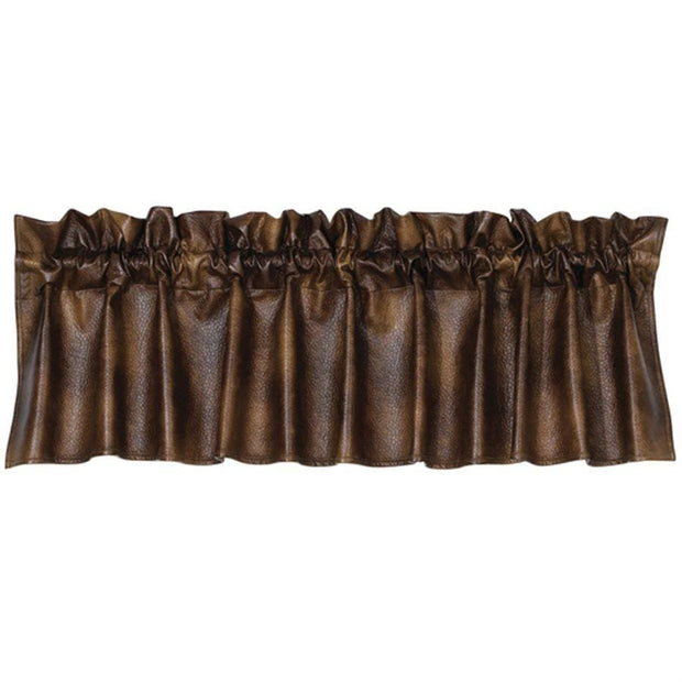 Chocolate Faux Leather Western Kitchen Valance