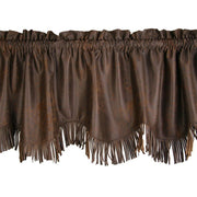 Chocolate Faux Leather Kitchen Valance w/ Fringe