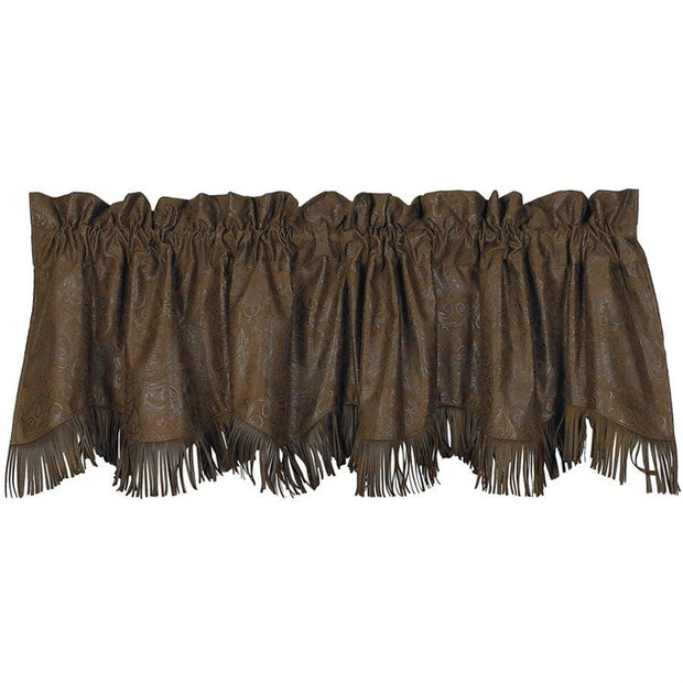 Chocolate Tooled Leather Kitchen Valance w/ Fringe