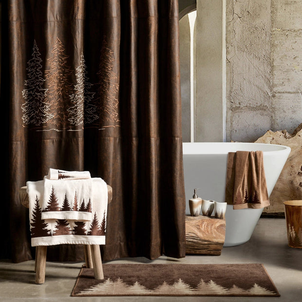 Clearwater Pines Chocolate Shower Curtain