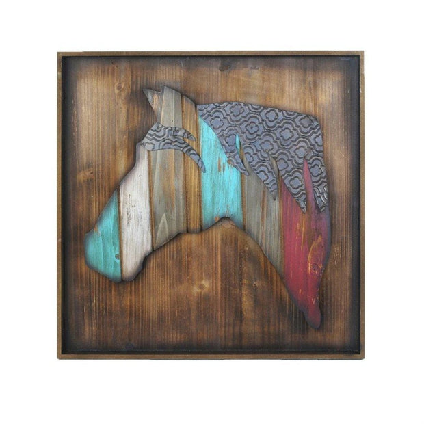 Colorful Horse Head Western Wall Art