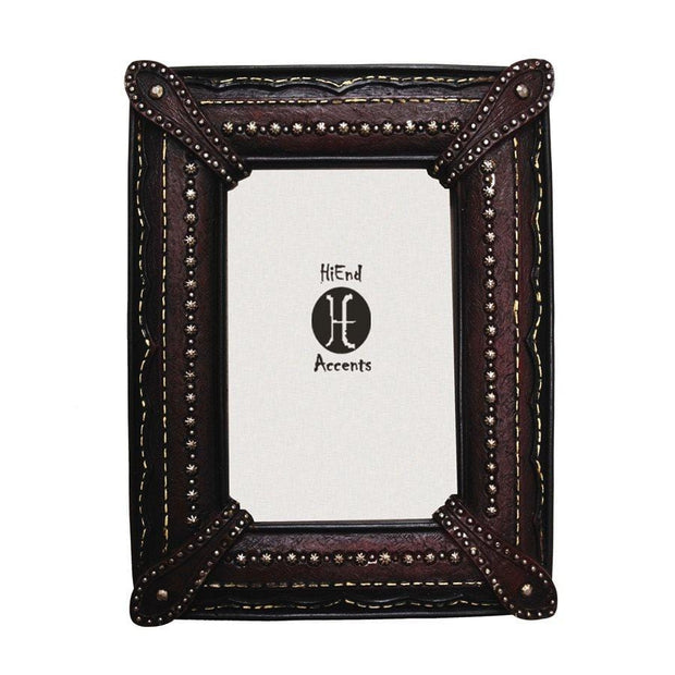 Corner Straps w/ Studding Faux Leather Picture Frame, 4x6