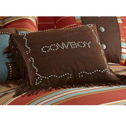 Cowboy Studded Decorative Throw Pillow, Faux Leather