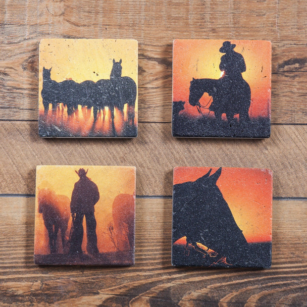 Cowboy Sunset 4-PC Coaster Set, Travertine