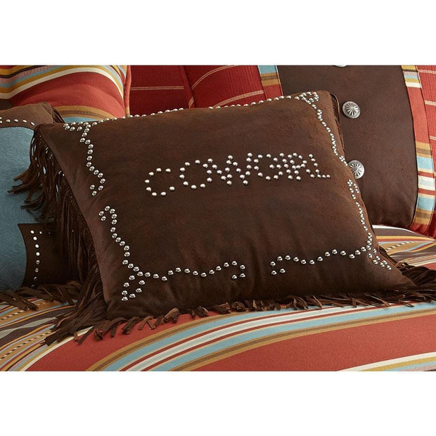 Cowgirl Studded Decorative Throw Pillow, Faux Leather