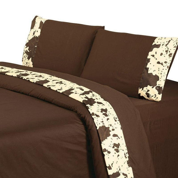 Cowhide 4-PC Sheet Set, 350 Thread Count (Cream/Chocolate)