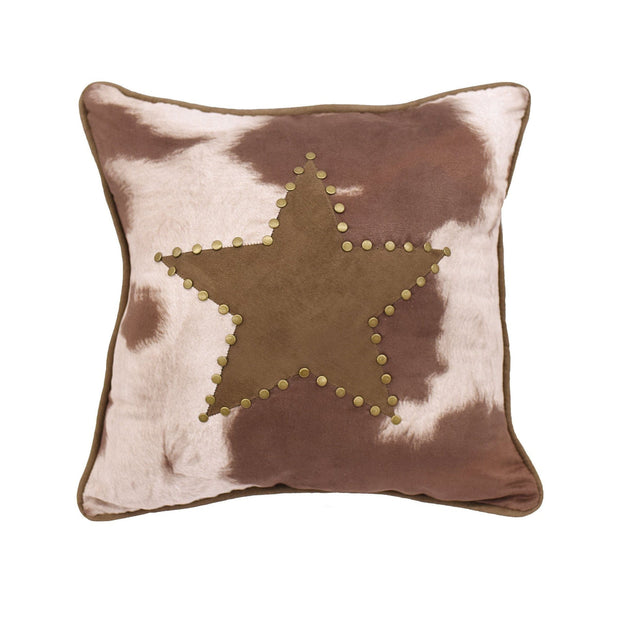 "Cowhide Accent Pillow w/ Star, 18"" x 18"""