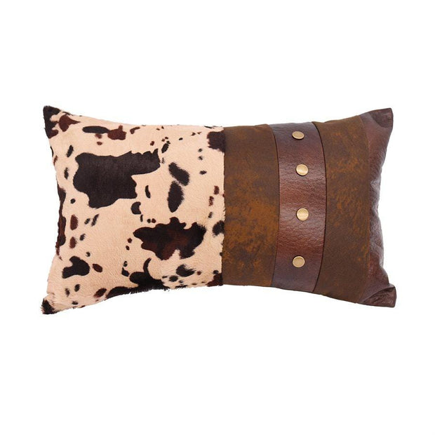Cowhide & Faux Leather Lumbar Pillow w/ Studs