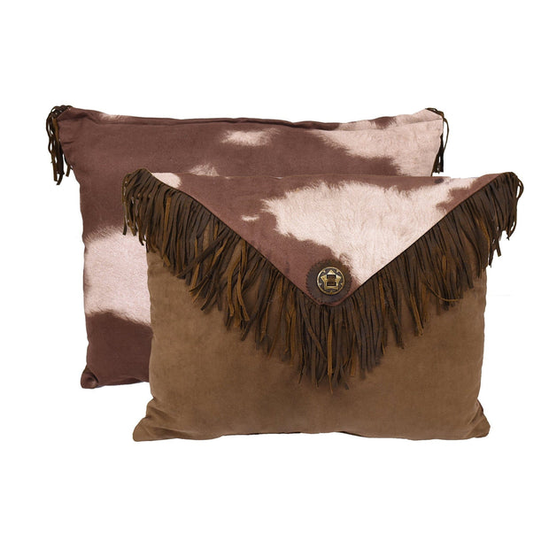 "Cowhide Fringed Envelope Pillow, 16"" x 21"""