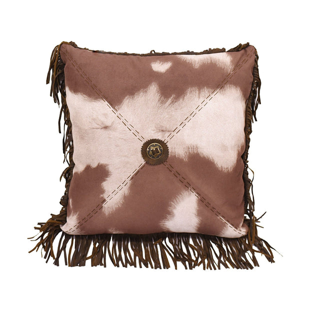 "Cowhide Pillow w/ Star Concho, 18"" x 18"""